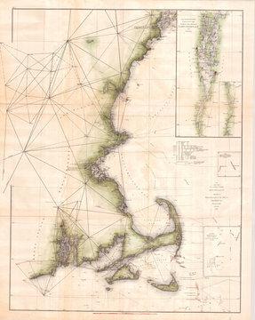 1873, U.S. Coast Survey Chart of Map of Cape Cod, Nantucket, Marthas Vineyard, and Cape Ann