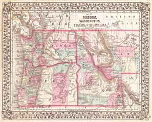 1877, Mitchell Map of Oregon, Washington, Idaho and Montana