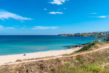 Areal view on the amazing beach in Sozopol in Bulgaria.