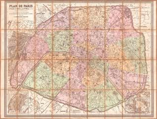 1878, Andriveau-Goujon Pocket Map of Paris, France