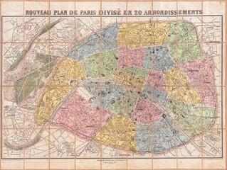 1881, Lefevre Pocket Map or Plan of Paris, France