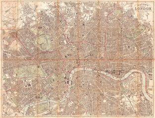 Fototapete - 1890, Bacon Traveler's Pocket Map of London, England