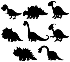 Set of silhouette dinosaur collection
