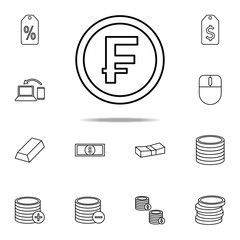 coin franc icon. Mobile banking icons universal set for web and mobile
