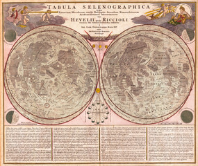 Fototapete - 1707, Homann and Doppelmayr Map of the Moon
