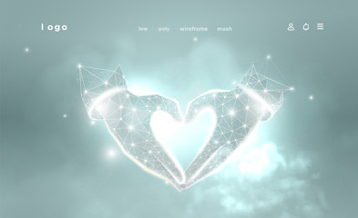 Hands of shape Heart. Abstract image on blue background. Low poly wireframe. Gesture hands god. Love symbol. Plexus lines and points in the constellation. Particles are connected in a geometric shape.