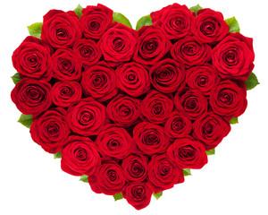 Herz geformt aus roten Rosen isoliert auf weißem Hintergrund