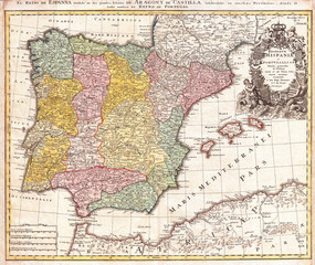 1730, Homann Map of Spain and Portugal