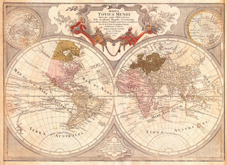 Wall Mural - 1775, Lotter Map of the World on a Hemisphere Projection