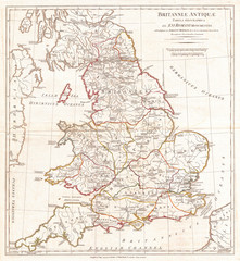 1794, Anville Map of England in ancient Roman times