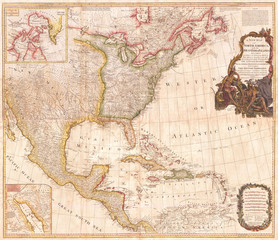 1794, Pownell Wall Map of North America and the West Indies