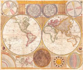 1794, Samuel Dunn Wall Map of the World in Hemispheres