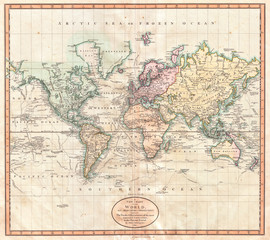 Fototapete - 1801, Cary Map of the World on Mercator Projection, John Cary, 1754 – 1835, English cartographer