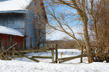 Rural farm in the Midwest after a Winter snow.