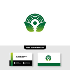 vector logo design for agriculture, agronomy, rural country farming field, natural harvest