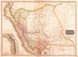1818, Pinkerton Map of Peru, John Pinkerton, 1758 – 1826, Scottish antiquarian, cartographer, UK