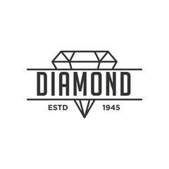 Diamond Logo Concept. Retro Vintage Insignia, Logotype, Label or Badge Vector design element, business sign template. - Vector