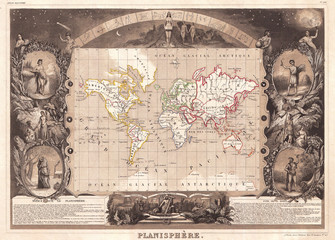 1847, Levasseur Map of the World
