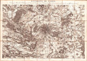 1850, Andriveau-Goujon Map of Paris and Environs
