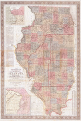 1852, Colton Sectional Pocket Map of Illinois