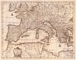 1852, Jansson Map of Europe in Antiquity