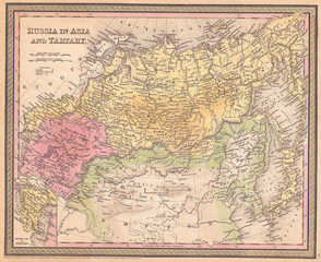 1853, Mitchell Map of Russia in Asia and Tartary