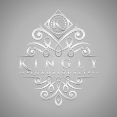 Letter K Logo - Classic & Luxurious Silver Embossed Style Logo
