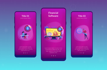 Data analyst oversees and governs income, expenses with magnifier. Financial management system, finance software, IT management tool concept. Mobile UI UX GUI template, app interface wireframe