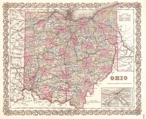 1855, Colton Map of Ohio