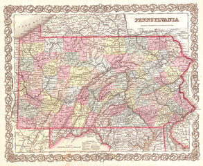 1855, Colton Map of Pennsylvania