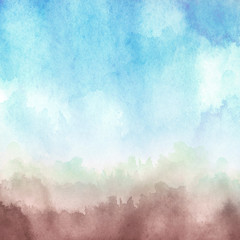 Watercolor abstract spot, blot. Colorful vintage background, reminiscent of a forest landscape. blue, pink, brown.
