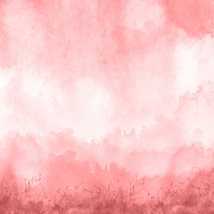 Watercolor red, purple, pink  background, blot, blob, splash of purple, pink  paint. Watercolor spot, abstraction. Abstract art illustration, scenic. Silhouette of grass, wild plants, bushes.