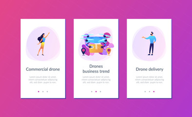 Drone transporting package to location pins with business people waiting for it. Drone delivery, commercial drone, drones business trend concept. Mobile UI UX GUI template, app interface wireframe