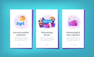 Drone over the city collecting meteorological data. Meteorology drones, meteorological data collection, accurate weather prediction concept. Mobile UI UX GUI template, app interface wireframe