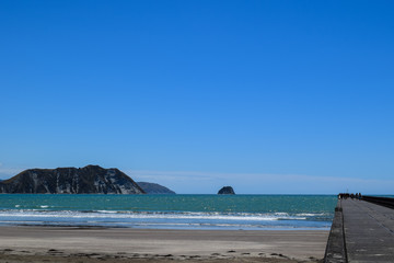 The seascape from the long pier at Tolaga Bay, New Zealand.