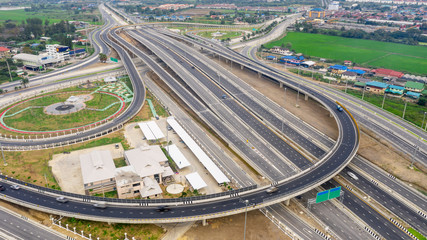 construction of a new ring road interchange and motorway expressway bypass for cars transportation ...
