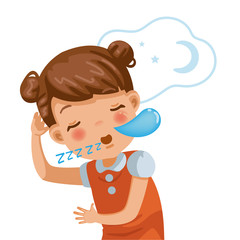 Little girl sleep / sleeping and Snoring. children portrait of deep sleep girl sleep on white background. Emotions and gestures of the cartoon character of the child. Vector illustrations isolated.