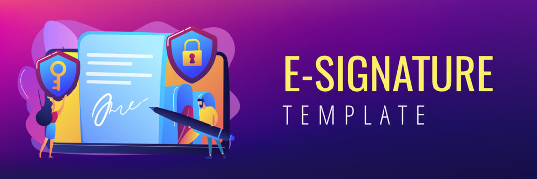 Businessman putting electronic signature on document, security shields. Electronic signature, e-signature template, e-sign consent agreement concept. Header or footer banner template with copy space.
