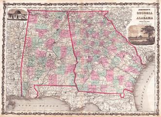 1862, Johnson Map of Georgia and Alabama