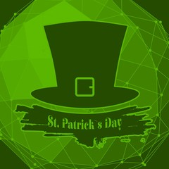 Green St. Patricks Day hat. Greeting card template. Grunge brush stroke. Connected lines with dots