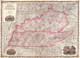 1862, Johnson Map of Kentucky and Tennessee