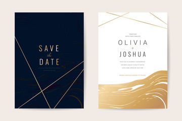 Wall Mural - Luxury wedding invitation cards with gold marble texture and geometric pattern minimal style vector design template