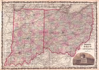 1862, Johnson Map of Ohio and Indiana