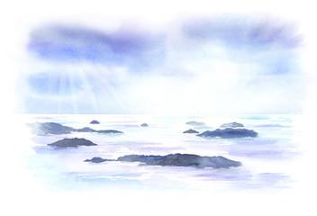 瀬戸内の島々 水彩画