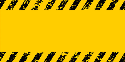 Warning frame grunge yellow and black diagonal stripes, vector grunge texture warn caution, construction, safety background