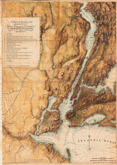 1864, 1777 Valentine, Des Barres Map of New York City and Harbor