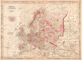 1864, Johnson Map of Europe