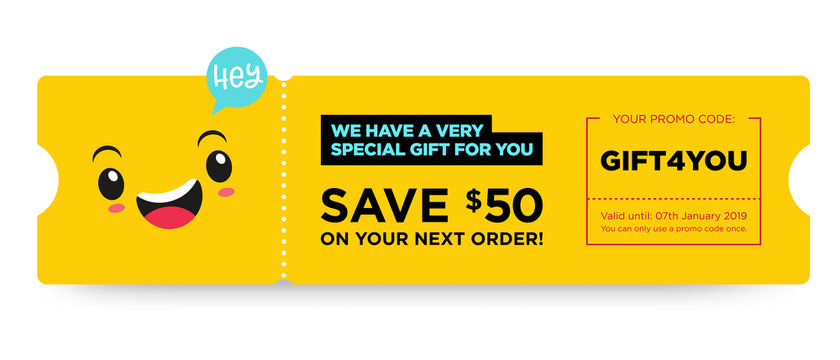 Vector Gift Voucher with Coupon Code. Fast Food Restaurant Certificate Template with Cute Funny Asian Character. Japanese Kawaii Design with Happy Face Emoji. Discount Offer Graphic with Promo Code.