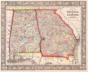 1864, Mitchell Map of Georgia and Alabama