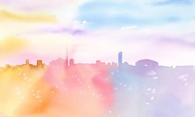 虹の街 シルエット 透明水彩画